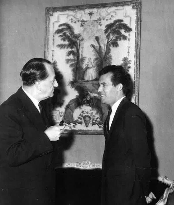Joël Féau avec André Malraux, archive photo Féau Boiseries, 1963