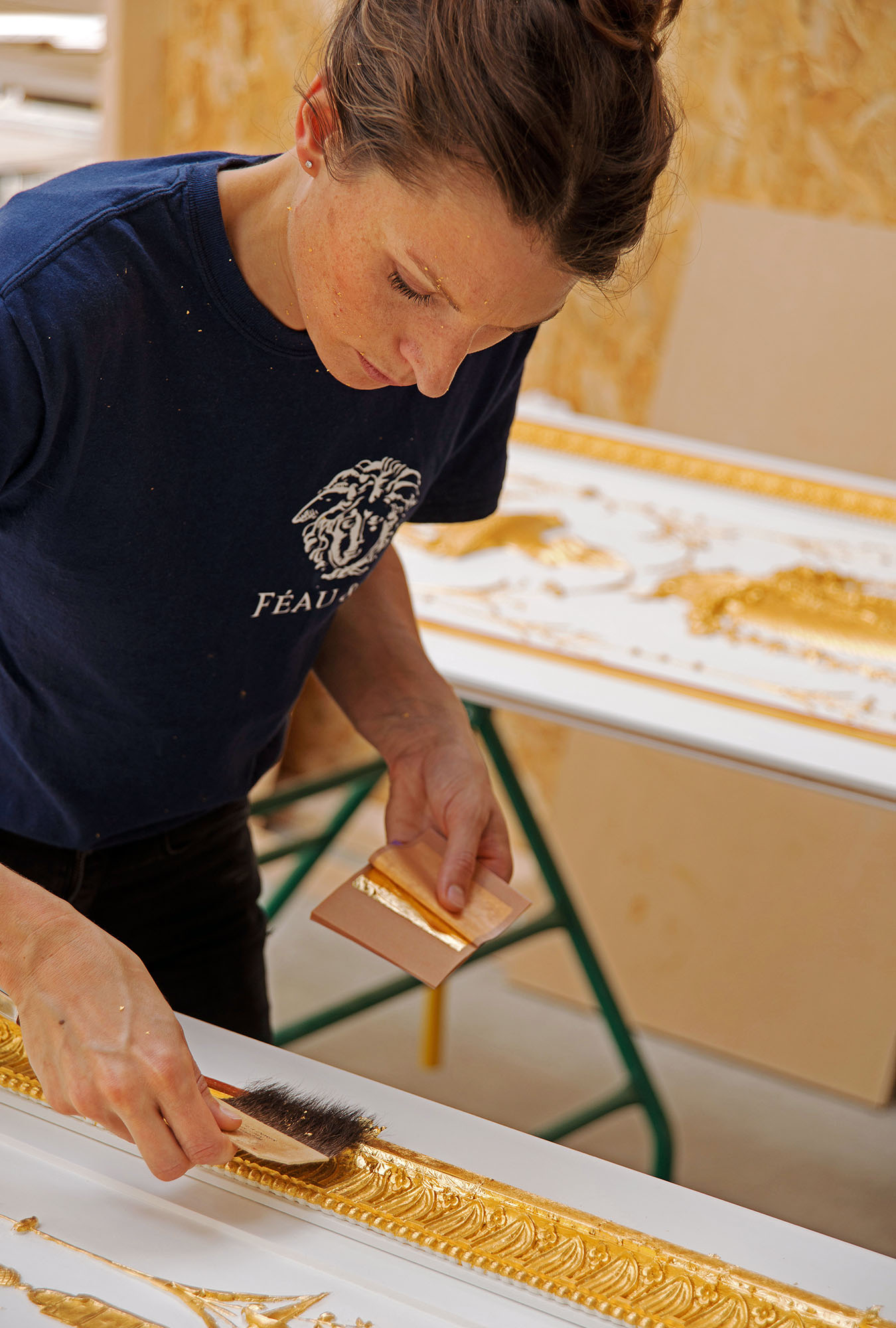 The craft of fine gilding on a custom-made panel
