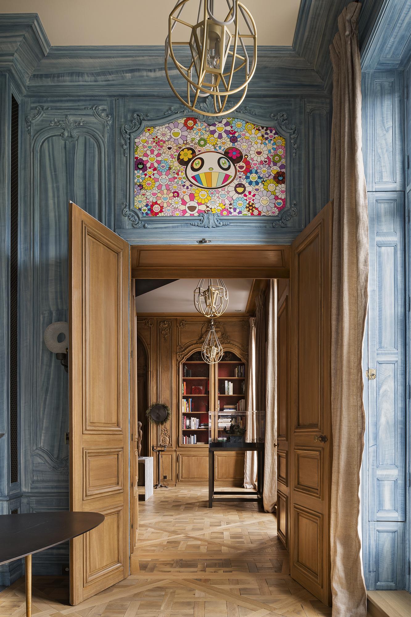 Porte double d'un décor de boiserie Louis XVI installée et restaurée par Féau Boiseries
