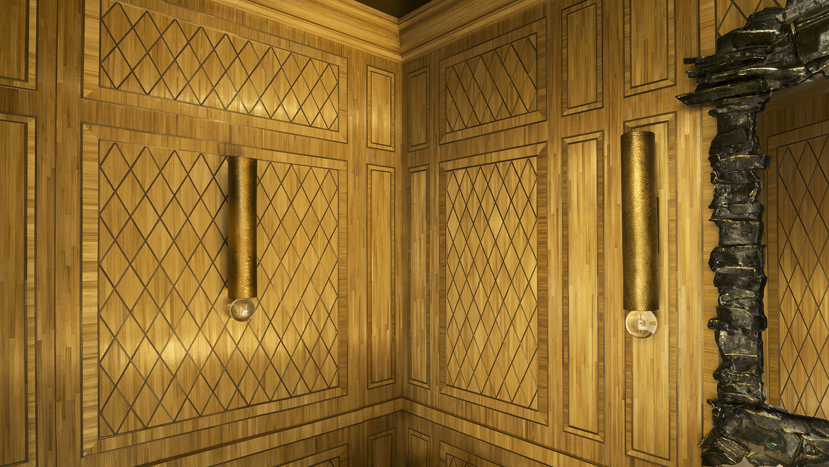 20th-century paneling, straw marquetry, custom-made, Féau Boiseries with Michael S Smith