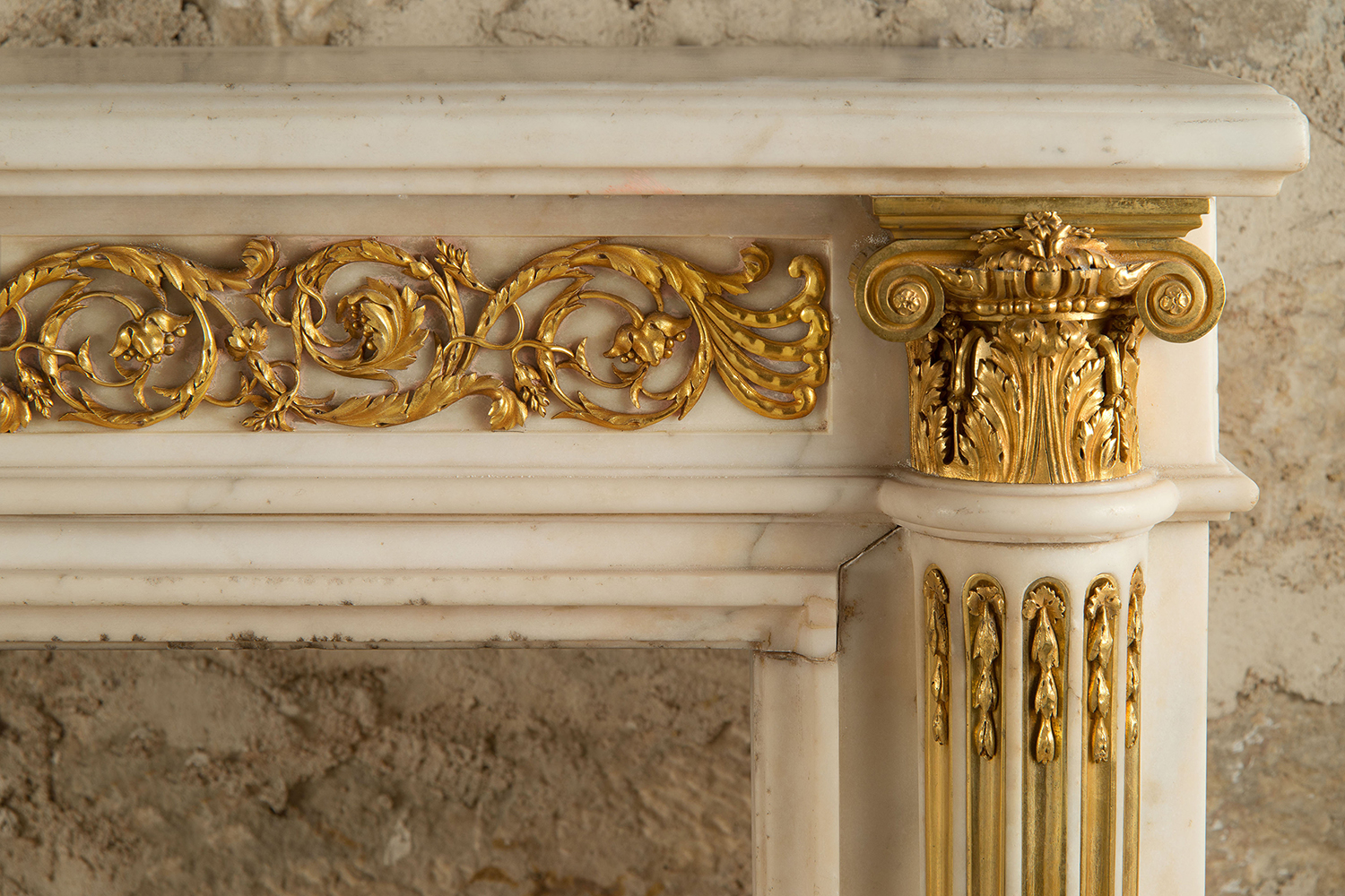 White marble and bronze fireplace by P. Gouthière