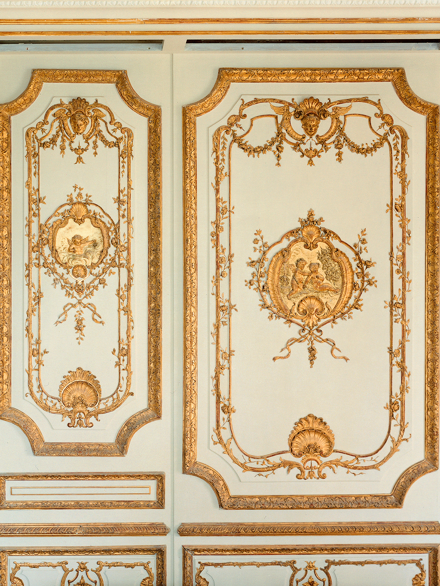 Luxurious decor, paneling and cornices, blue white painted finish with gilding, Côte d'Azur villa