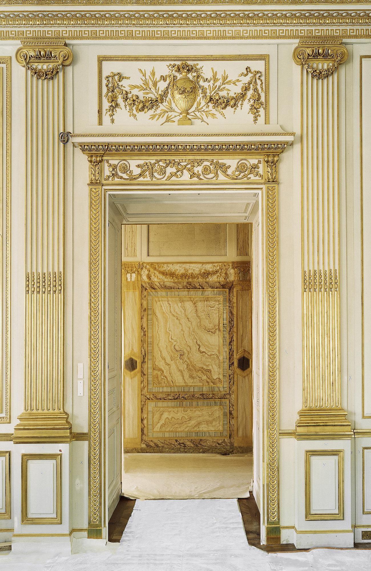 18th-century paneled office, Jacques de Lajoüe, architectural painter, rocaille style