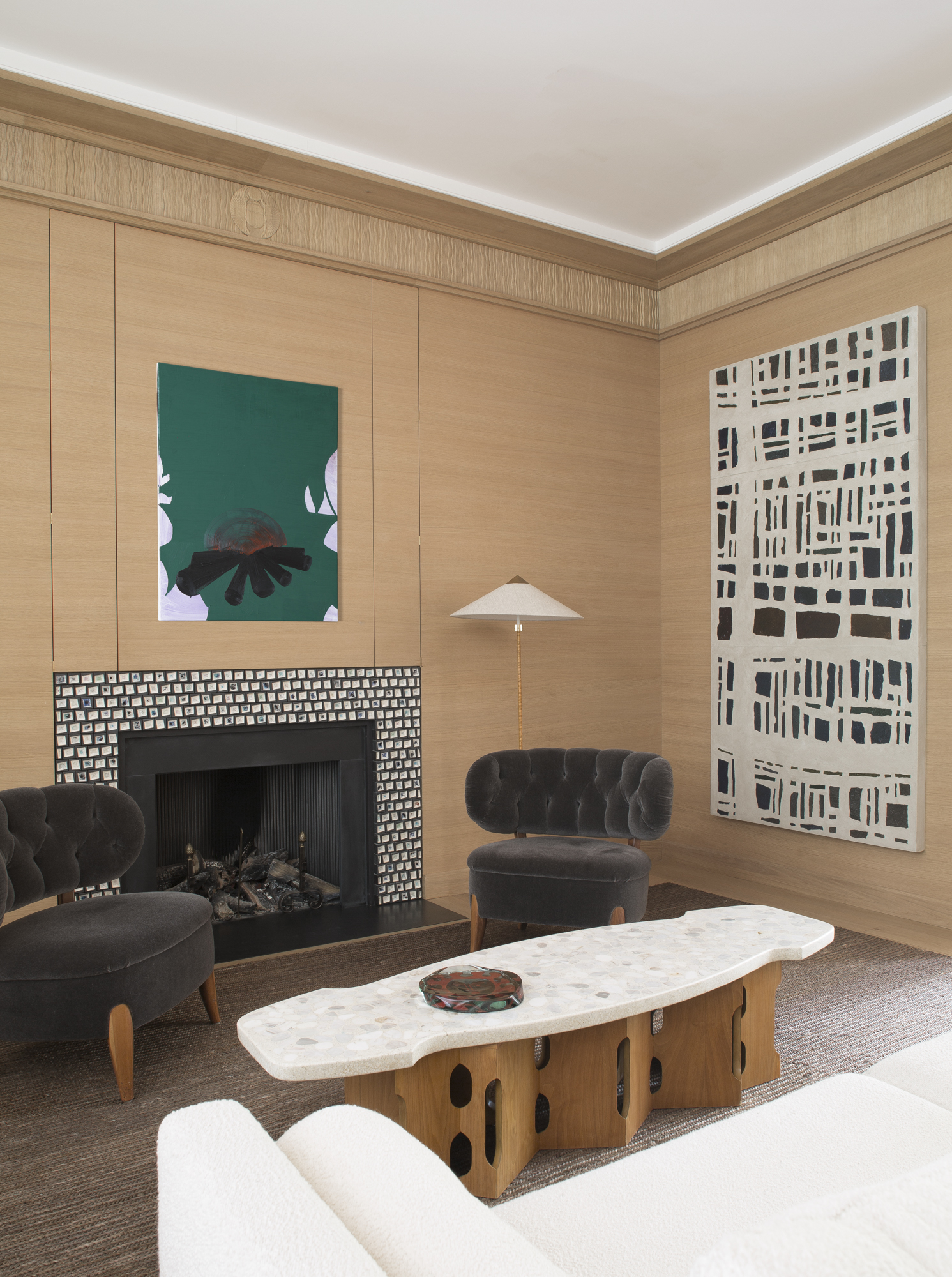 Art Deco inspired patinated oak boiserie scheme